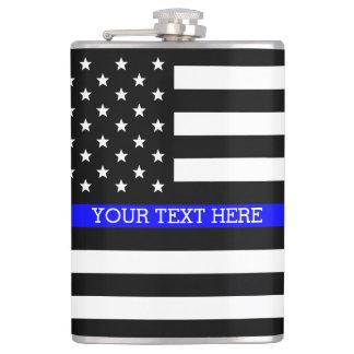 薄いブルーライン-米国旗の名前入りなカスタム フラスク