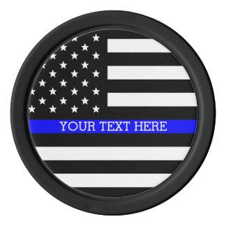 薄いブルーライン-米国旗の名前入りなカスタム ポーカーチップセット