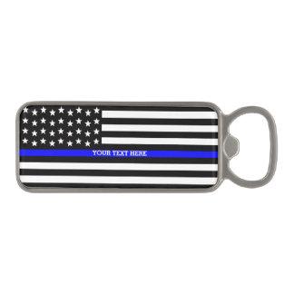 薄いブルーライン-米国旗の名前入りなカスタム マグネット栓抜き