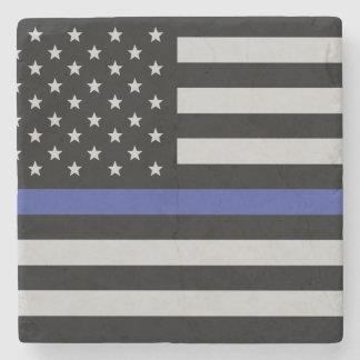 薄いブルーライン-米国旗 ストーンコースター