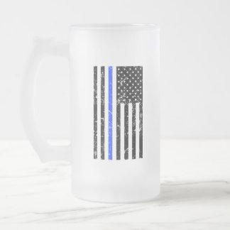 薄いブルーライン-警官-ビールのジョッキ フロストグラスビールジョッキ