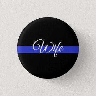 薄いブルーライン: 警察の妻 3.2CM 丸型バッジ