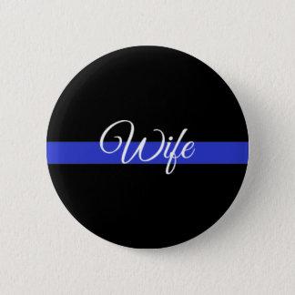 薄いブルーライン: 警察の妻 5.7CM 丸型バッジ