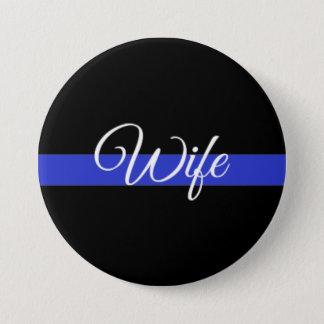 薄いブルーライン: 警察の妻 7.6CM 丸型バッジ