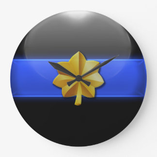 薄いブルーライン-警察の専攻のな記章 ラージ壁時計