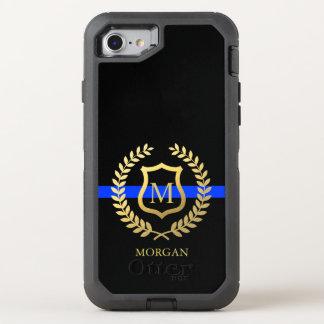 薄いブルーラインMonogram|Nameの模造のな金ゴールドホイルの警察 オッターボックスディフェンダーiPhone 8/7 ケース