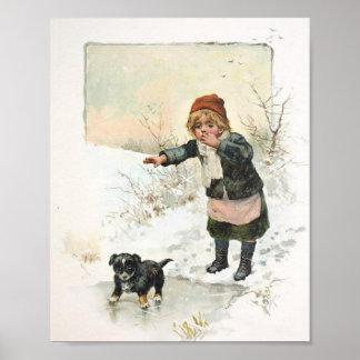 薄い氷のヴィンテージの冬の子犬 ポスター