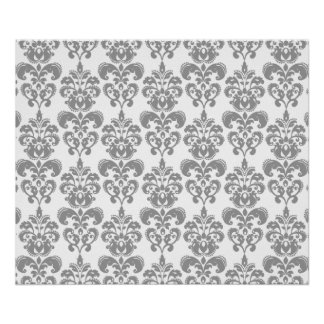 薄い灰色および白いダマスク織パターン2 ポスター