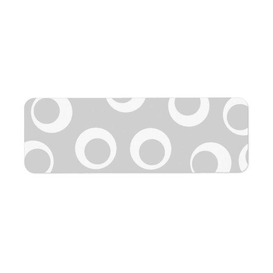 薄い灰色および白いレトロパターン 返信用宛名ラベル