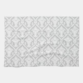 薄い灰色および白いヴィンテージのダマスク織パターン キッチンタオル