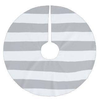 薄い灰色および白くストライプのなクリスマスツリーのスカート ブラッシュドポリエステルツリースカート