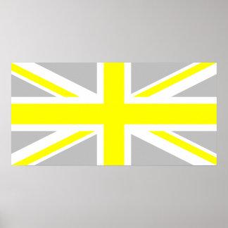薄い灰色および黄色い英国国旗 ポスター