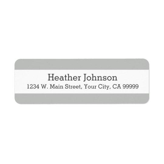 薄い灰色のストライプな差出人住所ラベル 返信用宛名ラベル