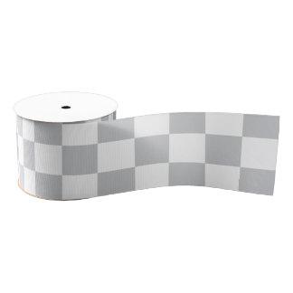 薄い灰色のチェッカーボード グログランリボン