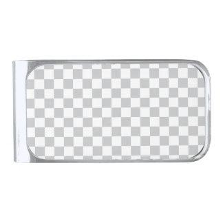薄い灰色のチェッカーボード シルバー マネークリップ