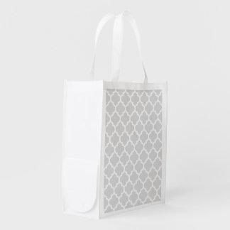 薄い灰色の白いモロッコのクローバーパターン#5 エコバッグ