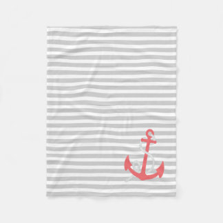 薄い灰色の白く航海のでストライプな、珊瑚のいかり フリースブランケット