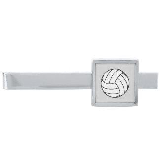 薄い灰色の白黒のバレーボールの球 銀色 ネクタイピン