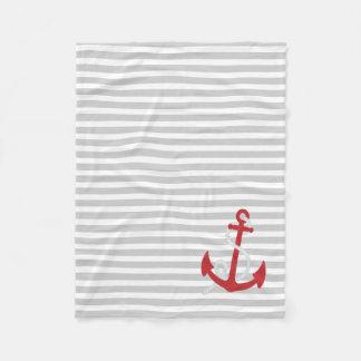 薄い灰色の航海の赤いいかりによって縞で飾ります フリースブランケット