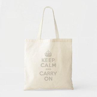 薄い灰色のKeep Calm and Carry On トートバッグ