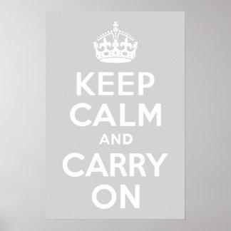 薄い灰色のKeep Calm and Carry On ポスター