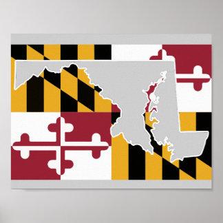 薄い灰色メリーランドの旗または州ポスター- ポスター