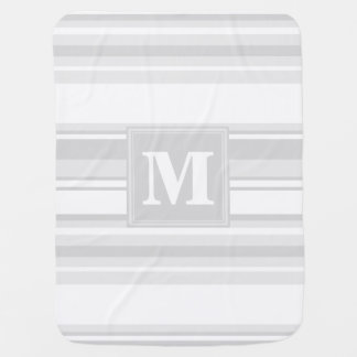 薄い灰色モノグラムは縞で飾ります ベビー ブランケット