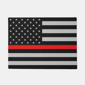 薄い赤線旗 ドアマット