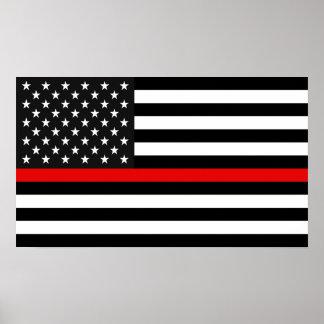 薄い赤線米国旗 ポスター