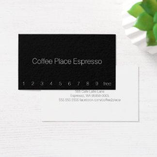 薄くシンプルで暗いロイヤリティのコーヒーパンチカード 名刺
