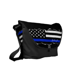 薄く引き裂かれたブルーライン米国旗の黒 メッセンジャーバッグ