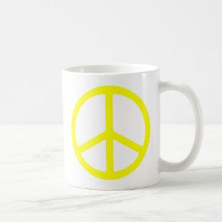 薄く黄色いピースサイン コーヒーマグカップ