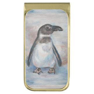 薄ら寒く小さいペンギン ゴールド マネークリップ