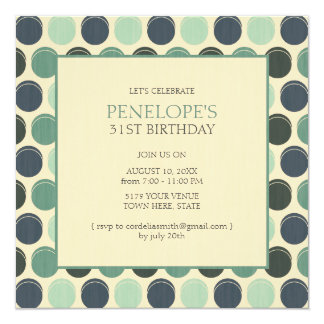 薄暗い海の大人の水玉模様の誕生日の招待状 カード