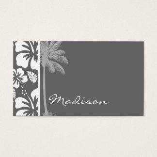 薄暗い灰色の熱帯ハイビスカス; ヤシの木 名刺