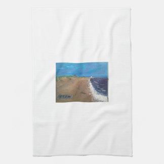 薄暗がりのケープコッドのビーチ キッチンタオル