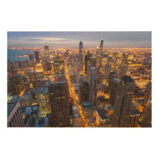 薄暗がりのシカゴの都心のスカイライン ウッドウォールアート