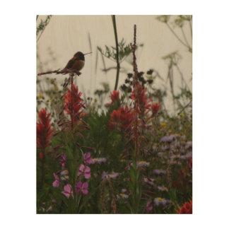 薄暗がりのハチドリ ウッドウォールアート