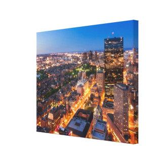 薄暗がりのボストンのスカイライン キャンバスプリント