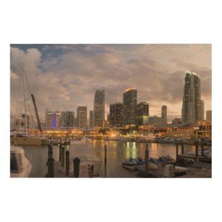 薄暗がりのマイアミの財政のスカイライン ウッドウォールアート