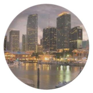 薄暗がりのマイアミの財政のスカイライン プレート