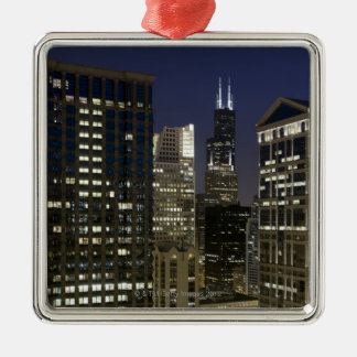 薄暗がりの都心のシカゴの大きい空中写真 メタルオーナメント