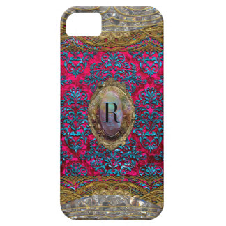 薄暗がりのRavoneのダマスク織のバロックのモノグラム iPhone SE/5/5s ケース
