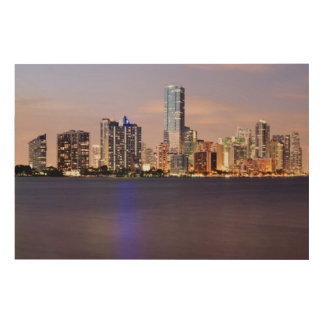 薄暗がり2の米国、フロリダ、マイアミのスカイライン ウッドウォールアート