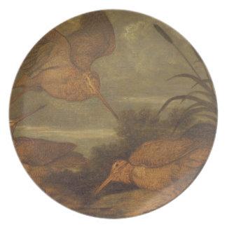 薄暗がり、c.1676 (キャンバスの油)のWoodcock プレート
