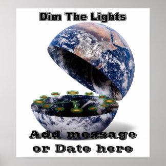 薄暗くして下さい地球時間(開いた地球)ライトを ポスター