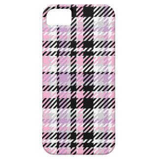 薄紫およびピンク格子縞- iPhone SE/5/5s ケース