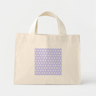 薄紫および白い水玉模様パターン。 むらがある ミニトートバッグ