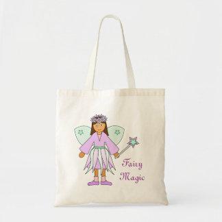 薄紫および緑の妖精の衣裳の女の子 トートバッグ