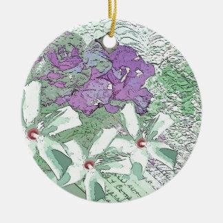 薄紫および賢明な花のモンタージュ セラミックオーナメント